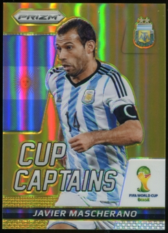 2014 Panini Prizm World Cup Cup Captains Prizms Gold #16 Javier Mascherano 10/10
