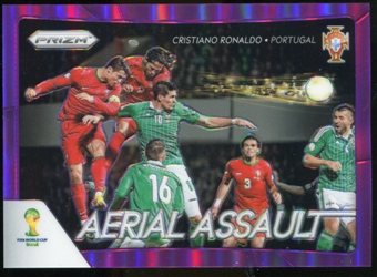 2014 Panini Prizm World Cup Aerial Assault Prizms Purple #1 Cristiano Ronaldo /99