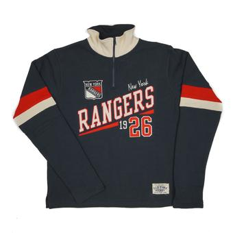 New York Rangers Old Time Hockey Christopher Navy Crew Neck Quarter Zip Fleece (Adult XXL)