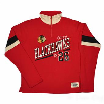 Chicago Blackhawks Old Time Hockey Christopher Red Crew Neck Quarter Zip Fleece (Adult M)