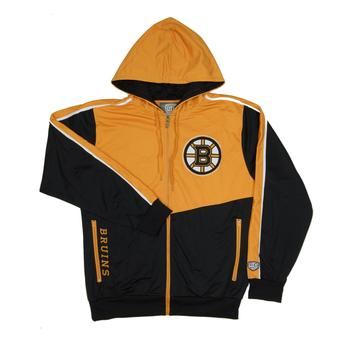 Boston Bruins Old Time Hockey Chaser Black & Gold Full Zip Hoodie Fleece (Adult XL)