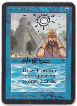 Magic the Gathering Alpha Single Ancestral Recall (DOUBLE SIGNED AND ALTERED BY ARTIST) - MODERATE PLAY (MP)