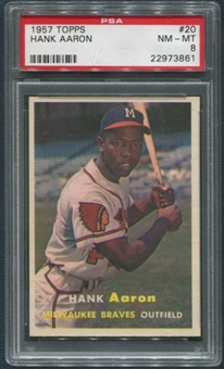 1957 Topps Baseball #20 Hank Aaron PSA 8 (NM-MT) *3861