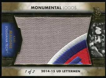 2014/15 Upper Deck Lettermen Karl Malone Monumental Logos Patch Serial Numbered 1/2