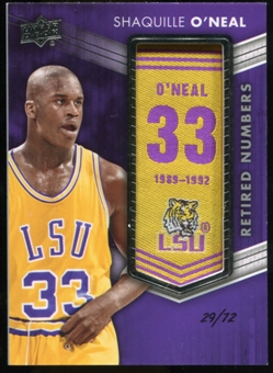 2014/15 Upper Deck Lettermen Shaquille O'Neal Retired Numbers Patch ser #'d 29/72