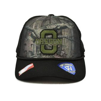 Oregon Ducks Top Of The World Camo Crew Two Tone Black & Camo Adjustable Snapback Hat (Adult One Size)