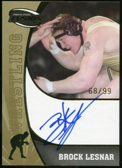 2009 Press Pass Fusion Autograph Blue Ink Gold Version #SSBL Brock Lesnar /99