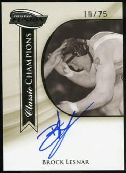 2009 Press Pass Fusion Brock Lesnar Classic Champions Autograph Blue Ink Gold Version /75 #CCHBL