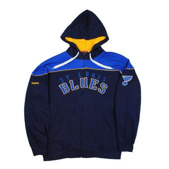 St. Louis Blues Reebok Navy Score Full Zip Fleece Hoodie (Adult S)