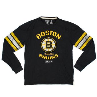 Boston Bruins CCM Reebok Black Name & Logo Applique L/S Tee Shirt (Adult XL)