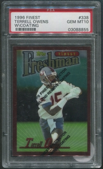 1996 Finest Football #338 Terrell Owens Rookie W/ Coating PSA 10 (GEM MT) *8855