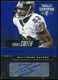 2014 Totally Certified Awesome Autographs Blue #AATS Torrey Smith Serial # 7/15