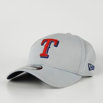 Texas Rangers New Era Grey 39Thirty Double Timer Flex Fit Hat