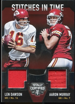 2014 Totally Certified Stitches in Time #STKC Aaron Murray/Len Dawson Serial #56/99