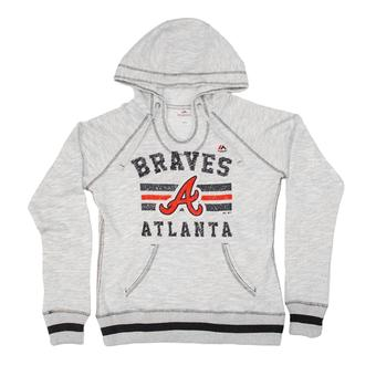 Atlanta Braves Majestic Heather Gray All Time Slugger Hoodie (Womens XXL)