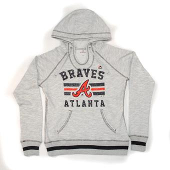 Atlanta Braves Majestic Heather Gray All Time Slugger Hoodie (Womens XL)