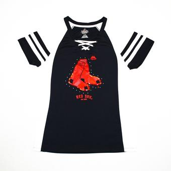 Boston Red Sox Majestic Navy Draft Me V-Neck Lace Up Tee Shirt (Womens S)