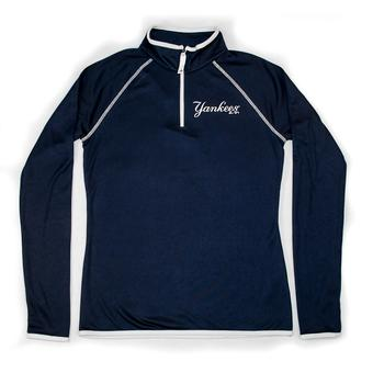 New York Yankees Majestic Navy Pride & Tradition 1/4 Zip Performance Long Sleeve Tee Shirt