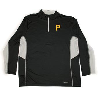 Pittsburgh Pirates Majestic Black 1/4 Zip Team Stats L/S Performance Tee Shirt (Adult M)