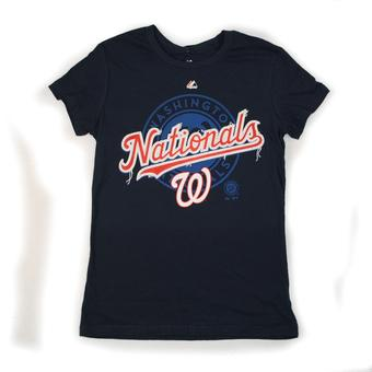 Washington Nationals Majestic Navy Hype-Tastic Tee Shirt (Womens M)