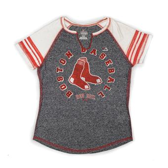 Boston Red Sox Majestic Navy More Than Enough Split Neck Tee Shirt (Womens M)