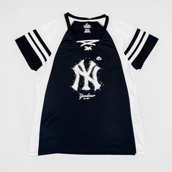 New York Yankees Majestic Navy & White Draft Me V-Neck Lace Up Tee Shirt (Womens XL)