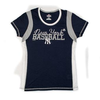 New York Yankees Womens Navy Pride Playing Tee Shirt (Womens XXL)