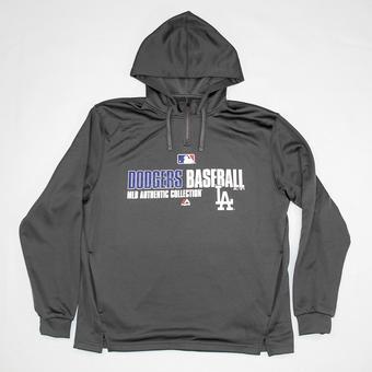 Los Angeles Dodgers Majestic Grey Team Favorite 1/4 Zip Performance Hoodie (Adult XL)