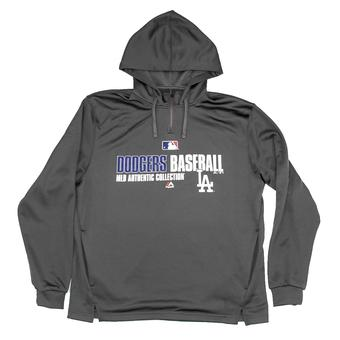 Los Angeles Dodgers Majestic Grey Team Favorite 1/4 Zip Performance Hoodie