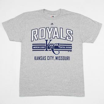Kansas City Royals Majestic Heather Grey 1st to 3rd Tee Shirt (Adult M)