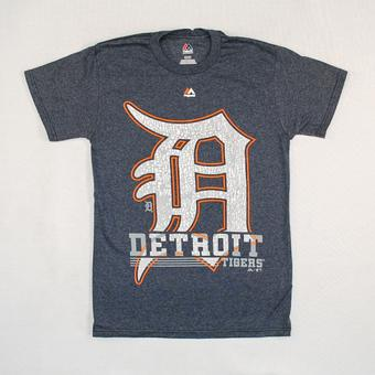 Detroit Tigers Majestic Navy 6th Inning Dual Blend Tee Shirt (Adult XXL)