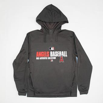Los Angeles Angels Majestic Grey Team Favorite 1/4 Zip Performance Hoodie