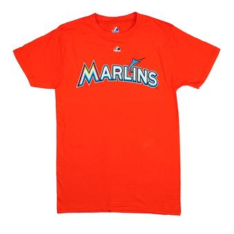 Miami Marlins Majestic Orange Wordmark Tee Shirt (Adult S)