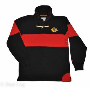 Chicago Blackhawks Old Time Hockey Jerry Black Toggle Long Sleeve Crew (Adult M)