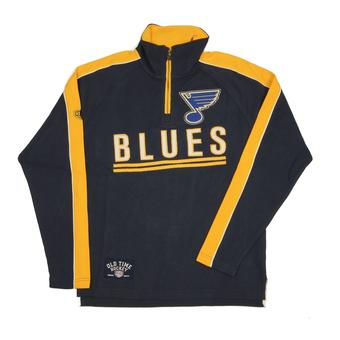 St. Louis Blues Old Time Hockey Conor Navy 1/4 Zip Crew Fleece