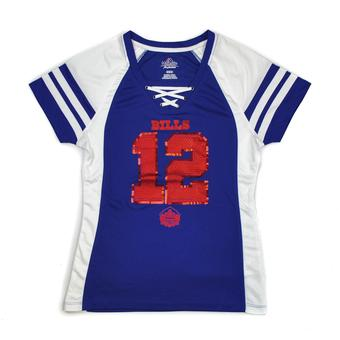 Jim Kelly Buffalo Bills Majestic Hall of Fame Draft Him VII V-Neck Lace Up Tee Shirt (Womens M)