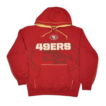 San Francisco 49ers Majestic Red Seam Pass Pullover Hooded Sweatshirt (Adult M)