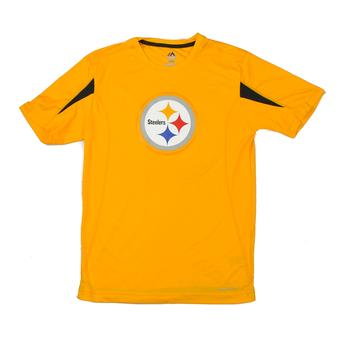 Pittsburgh Steelers Majestic Yellow Fanfare VII Performance Synthetic Tee Shirt (Adult S)
