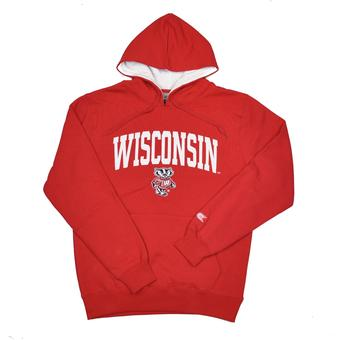 Wisconsin Badgers Colosseum Red Zone Pullover Fleece Hoodie (Adult M)