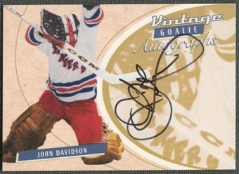 2002/03 Between the Pipes Goalie #33 John Davidson Auto /90