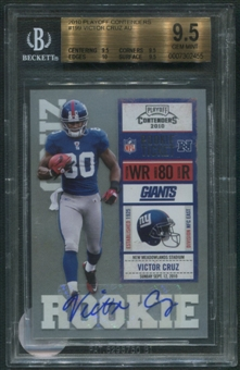 2010 Playoff Contenders #199 Victor Cruz Rookie Auto BGS 9.5 (GEM MINT) *2455
