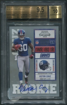 2010 Playoff Contenders #199 Victor Cruz Rookie Auto BGS 9.5 (GEM MINT) *2213