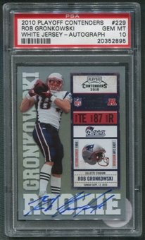 2010 Playoff Contenders #229B Rob Gronkowski White Jersey Rookie Auto PSA 10 (GEM MT) *2895