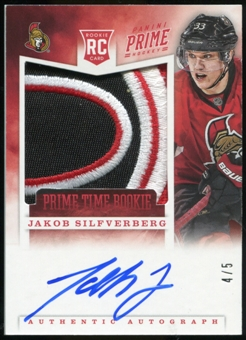 2012-13 Panini Prime Time Rookies Autographs Patch #11 Jakob Silfverberg Serial #4/5