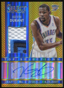 2013/14 Panini Select Top Selections Jersey Autographs Prizms Gold #15 Kevin Durant 2/10