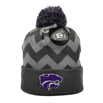 Kansas State Wildcats Top Of The World Gray Chevron Cuffed Pom Knit Hat (Adult One Size)