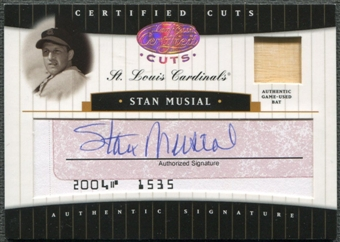 2004 Leaf Certified Cuts #69 Stan Musial Cut Check Signature Auto Bat #02/14