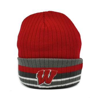 Wisconsin Badgers Top Of The World Freezin Red & Gray Cuffed Knit Hat (Adult One Size)