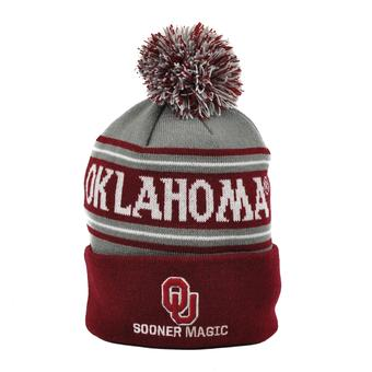 Oklahoma Sooners Top Of The World Maroon Ambient Cuffed Pom Knit Hat (Adult One Size)