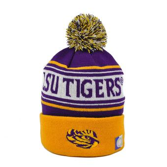 LSU Tigers Top Of The World Purple & Yellow Ambient Cuffed Pom Knit Hat (Adult One Size)